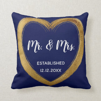 Gold Love Heart Monogram Wedding Gift Cushion