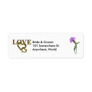 Gold Love Hearts & Purple Thistle Return Address Return Address Label