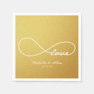 Gold Love Infinity Wedding Paper Napkins Set