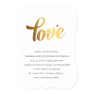 Gold Love Wedding Invitation