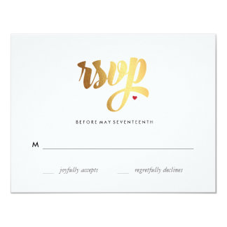 Gold Love Wedding RSVP Card 11 Cm X 14 Cm Invitation Card