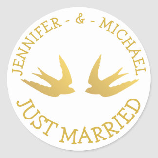 Gold Lovebirds Just Married  Wedding Love Doves Classic Round Sticker