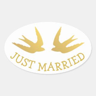 Gold Lovebirds Just Married  Wedding Love Doves Oval Sticker