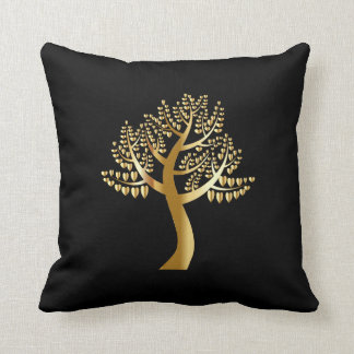 Gold lovers hearts as leaves On A Gold Tree Cushion