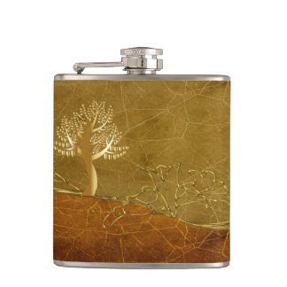 Gold lovers hearts as leaves On A Gold Tree Hip Flask