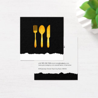 Gold Luxe Food Utensils Torn Look Square Business Card