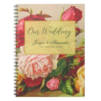 Gold luxury chic vintage roses elegant wedding spiral notebook
