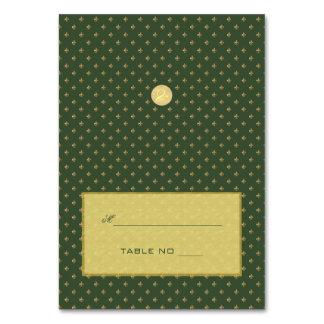 Gold luxury elegant green fleurdelis escort card