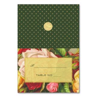 Gold luxury elegant roses fleurdelis place escort card