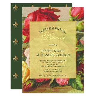 Gold luxury elegant vintage rose rehearsal dinner card