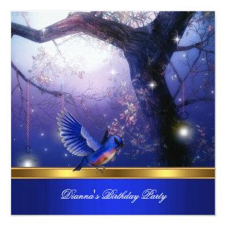 Gold Magical Blue Birds Blue Birthday Party 13 Cm X 13 Cm Square Invitation Card