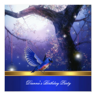 Gold Magical Blue Birds Blue Birthday Party Card