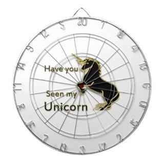 Gold magical fairytale unicorn dartboard