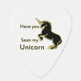 Gold magical fairytale unicorn guitar pick