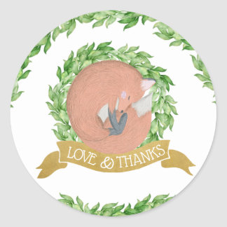 Gold & Magnolia Woodland Fox Classic Round Sticker