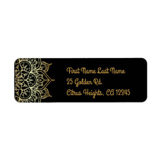 Gold Mandala & Black Chic Glam Modern Wedding Return Address Label
