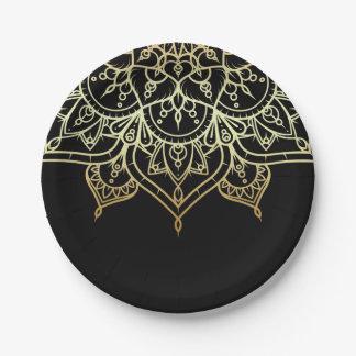 Gold Mandala Black Chic Modern Glam Party Paper Plate