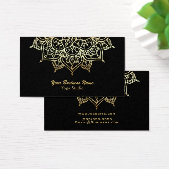 Gold Mandala Black Elegant Chic Modern Yoga Studio Business Card