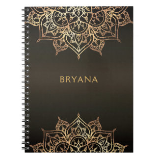 Gold Mandala Brown Bronze Chic Glamour Modern Glam Notebook