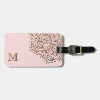 Gold Mandala Monogram   Chic Blush Pink Boho Bag Tag