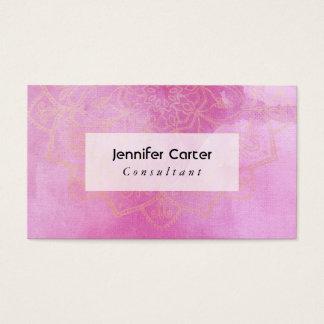 Gold Mandala Over Textured Deep Pink Watercolor 2 Business Card