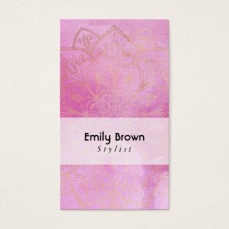 Gold Mandala Over Textured Deep Pink Watercolor 3 Business Card