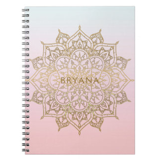 Gold Mandala Pink Peach Chic Glamour Modern Glam Notebook