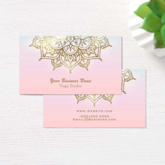 Gold Mandala Pink Peach Chic Modern Yoga Studio Business Card