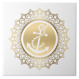 Gold Mandala & White Boat Anchor Tile