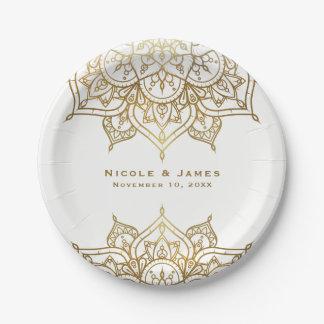 Gold Mandala White Chic Classy Modern Glam Wedding Paper Plate