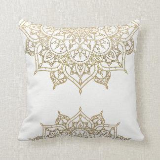 Gold Mandala White Chic Glamour Modern Glam Cushion