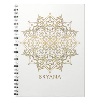 Gold Mandala White Chic Glamour Modern Glam Notebook