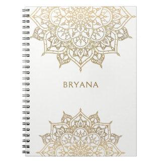 Gold Mandala White Chic Glamour Modern Glam Notebooks