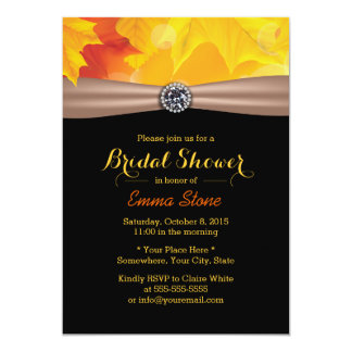 "Gold Maple Leaves & Diamond Autumn Bridal Shower 5"" X 7"" Invitation Card"