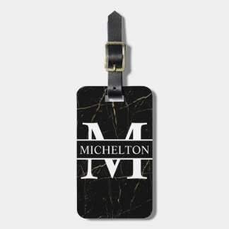 Gold Marble Black Personalized Luggage Tag