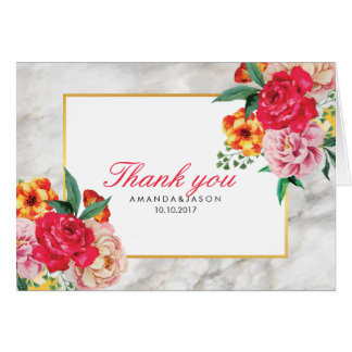 GOLD MARBLE Peony Floral Wedding Favor Thank You Card