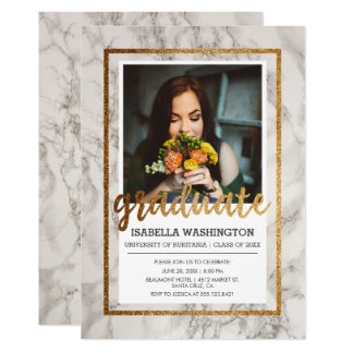 Gold & Marble Typography | Photo Graduation Party Card