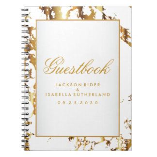 Gold Marble & White  - Guestbook Notebook