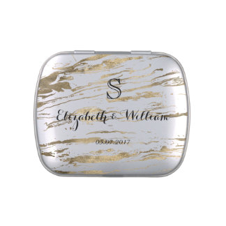 Gold marbleized abstract wedding design jelly belly candy tins