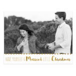Gold, Marry and Bright Christmas Save the Date Postcard