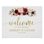 Gold Marsala Boho Autumn Wedding Welcome Poster