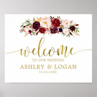 Gold Marsala Boho Autumn Wedding Welcome Poster