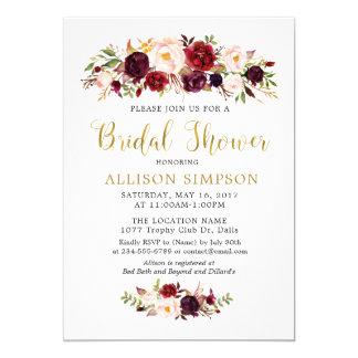 Gold Marsala Flowers BridalShower Invitations