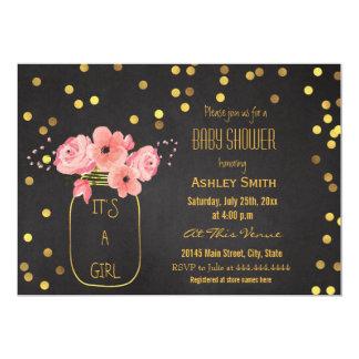 Gold Mason Jar Confetti Chalkboard Baby Shower 13 Cm X 18 Cm Invitation Card