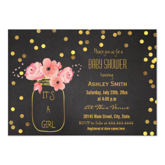 Gold Mason Jar Confetti Chalkboard Baby Shower Card