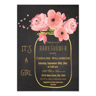 Gold Mason Jar Floral Chalkboard Baby Shower Magnetic Invitations