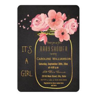 Gold Mason Jar Flowers Chalkboard Baby Shower Card