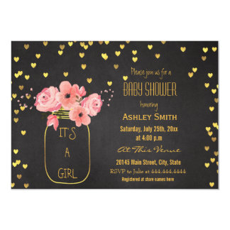 Gold Mason Jar Hearts Chalkboard Baby Shower 13 Cm X 18 Cm Invitation Card