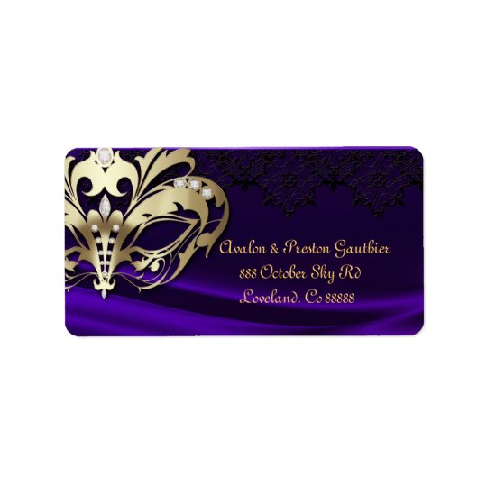 Gold Masquerade Purple Jewel Wedding Address Label