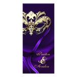 Gold Masquerade Purple Jewelled Wedding Program Rack Cards